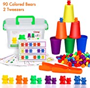 BMAG Counting Bears with Matching Sorting Cups,Number Color Recognition STEM Educational Toy for Toddler, Pre-School Learning