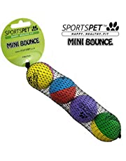 SPORTSPET Mini Bounce Rubber balls for Kittens, Cats and Puppy Dogs 4 pack