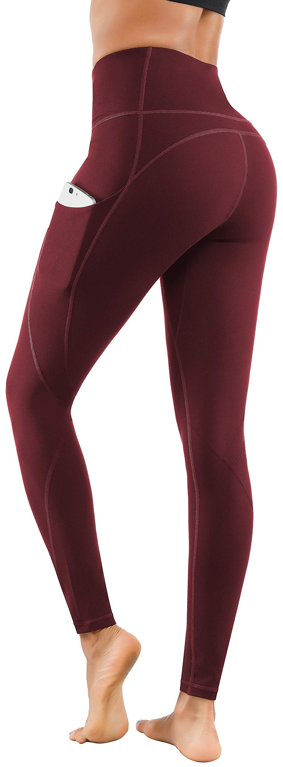 Lingswallow High Waist Yoga Pants - Yoga Pants with Pockets Tummy Control, 4 Ways Stretch Workout Running Yoga Leggings (Bordeaux red,Small) by Lingswallow