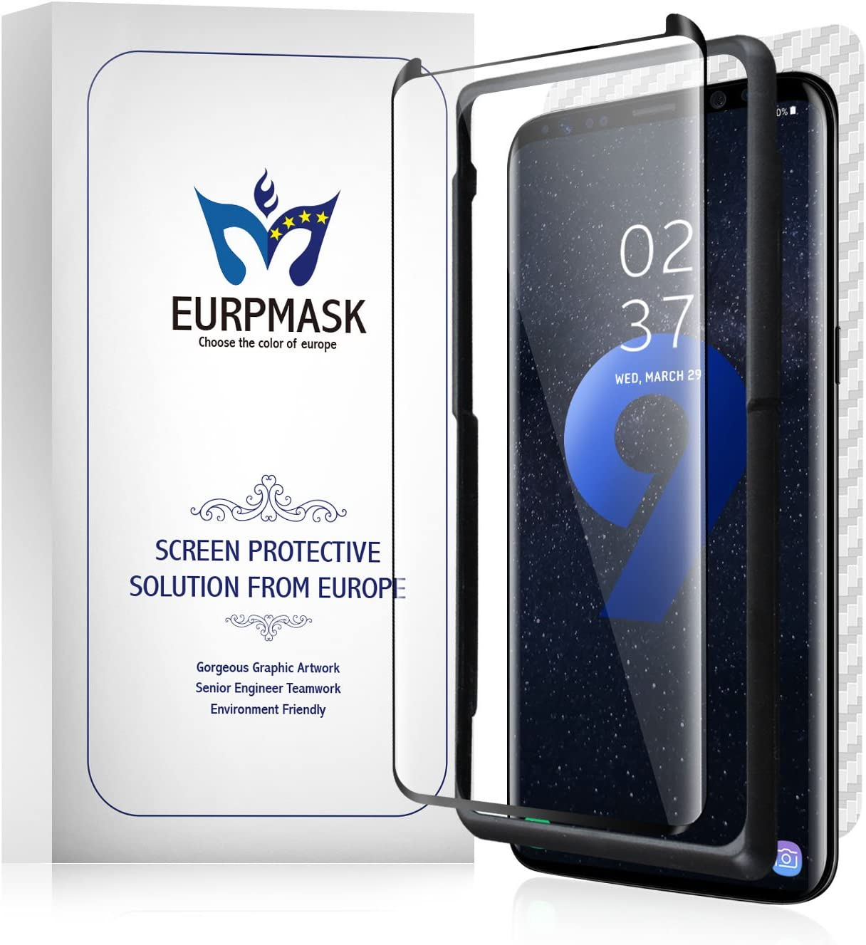 Zizo Full Curved Tempered Glass Screen Protector Anti Scratch with 9H Hardness Samsung Galaxy S9 Plus