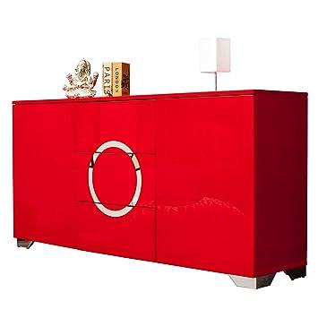 Exklusives Sideboard Zen Hochglanz Rot 160 Cm Mit Edelstahl
