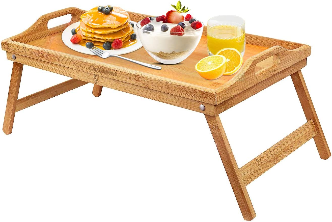 Cozihoma Breakfast Tray Bed Tray Table With Folding Legs Laptop Desk Snack Tray For Eating Reading With Handles Kitchen Dining