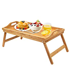 Cozihoma Breakfast Tray Bamboo Bed Tray Table with Foldable Legs Portable Laptop Tray Snack Tray for Food Serving Bed Reading TV Watching with Carrying Handles (Standard Version)