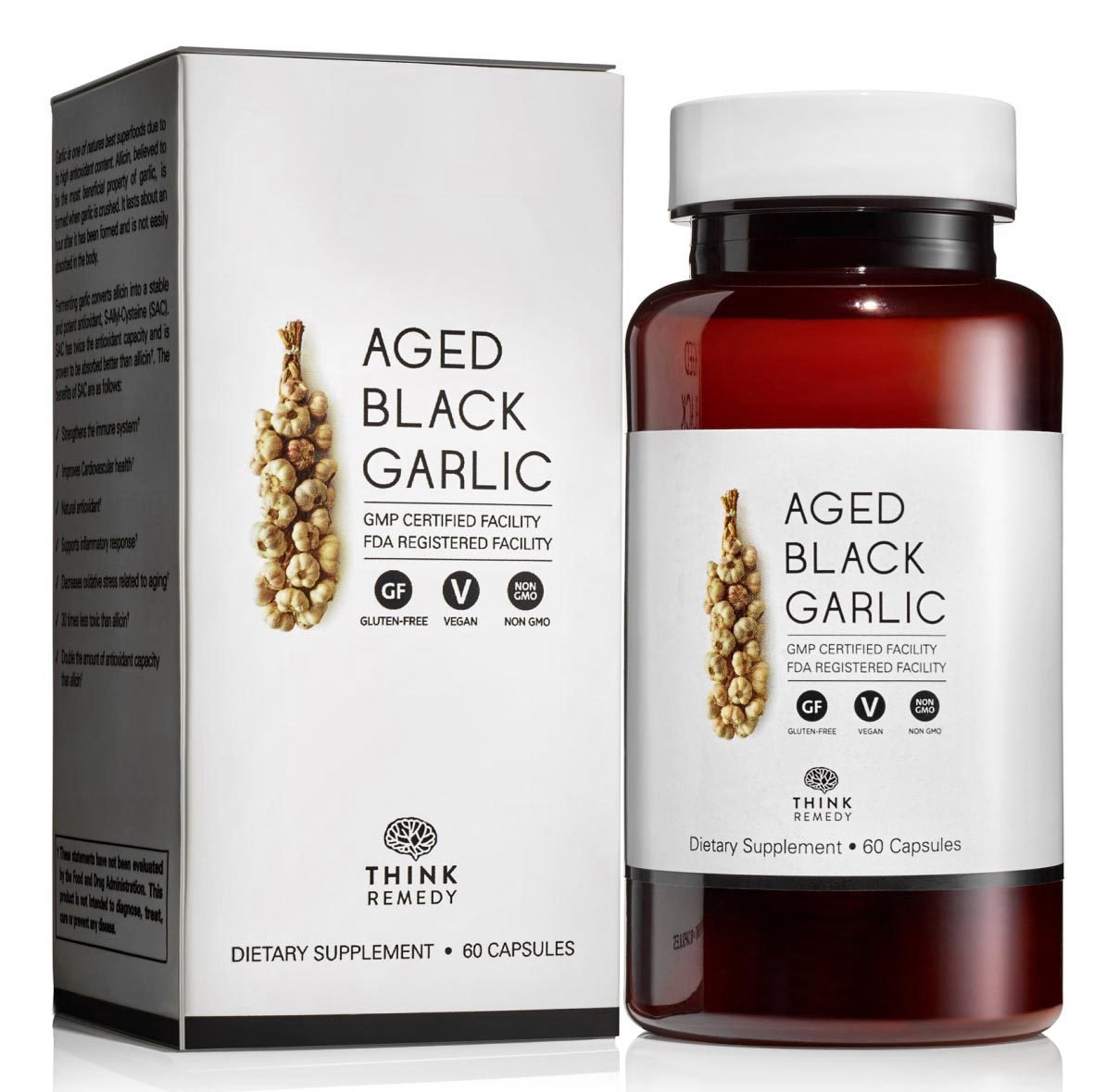 Aged Black Garlic Capsules - Garlic Pills for High Blood Pressure and Cholesterol Support - Less Odor - Potent Antioxidant - 60 Capsules - Allium Sativum Supplement - More Effective than Allicin