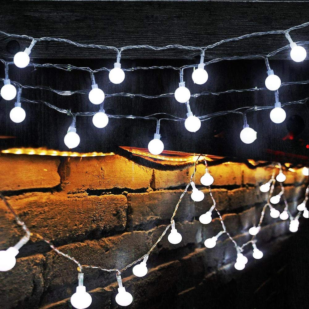 16 Feet 50 LED Globe Fairy Lights, Globe String Lights Starry Lights for Home Party Birthday Garden Festival Wedding Xmas Indoor Outdoor Use (Cool White)
