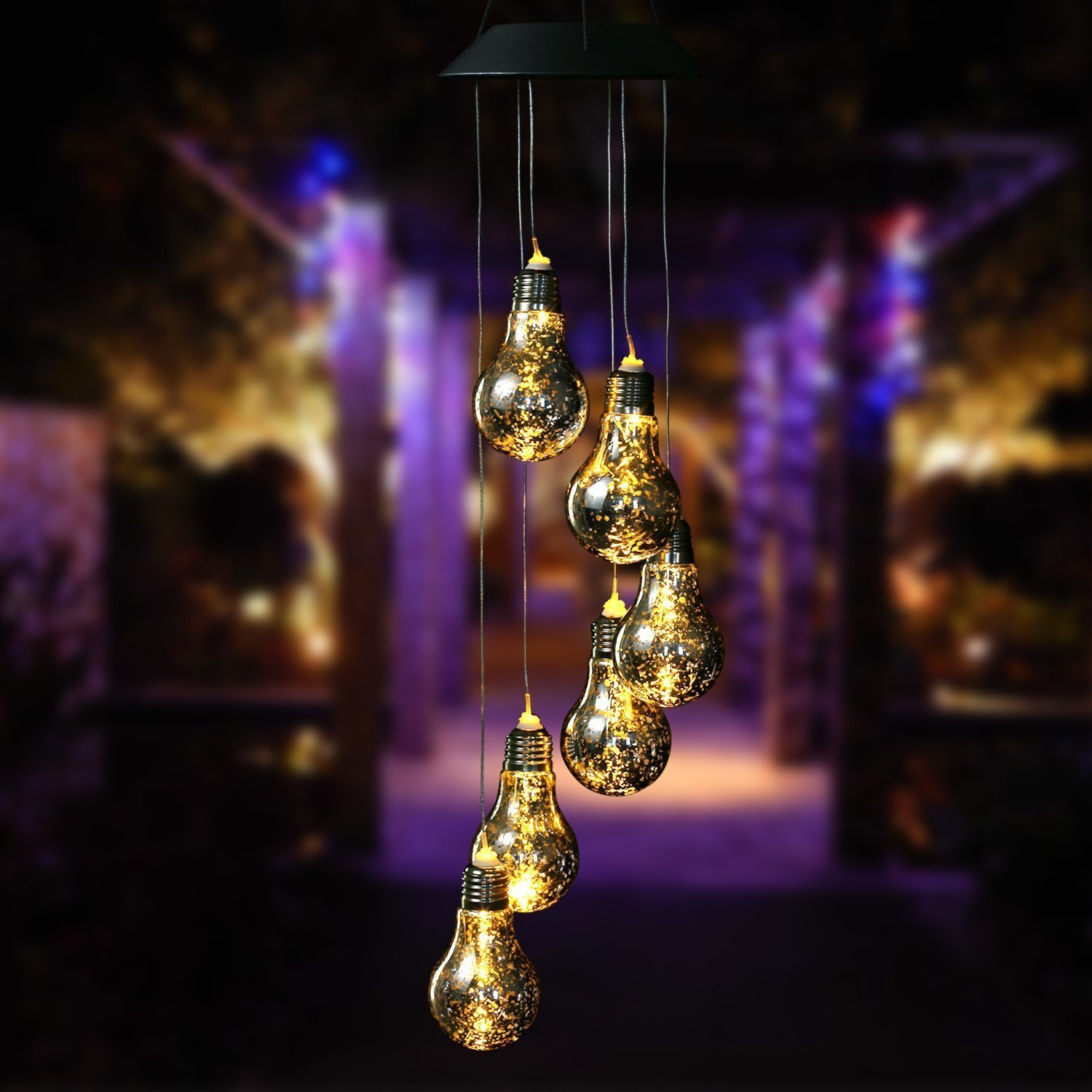 Bulb Solar Powered Mobile, Anzome Spiral Spinner Windchime Wind Chime Outdoor Decorative Windbell Light for Patio, Deck, Yard, Garden, Home, Pathway