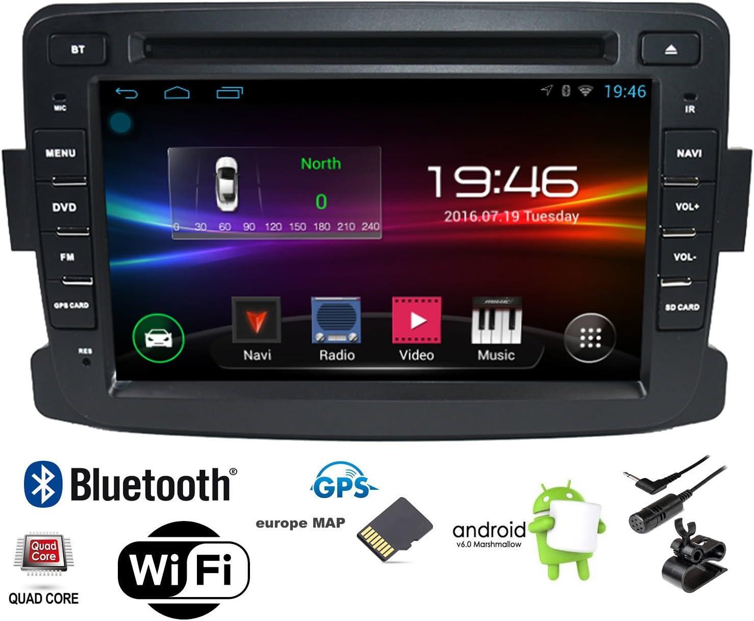 Autoradio Android pour Renault Dacia GPS CAMECHO 8 Pouces /écran Tactile capacitif Lecteur st/ér/éo de Voiture WiFi Bluetooth r/écepteur FM Double USB pour Sandero Duster Logan Dokker