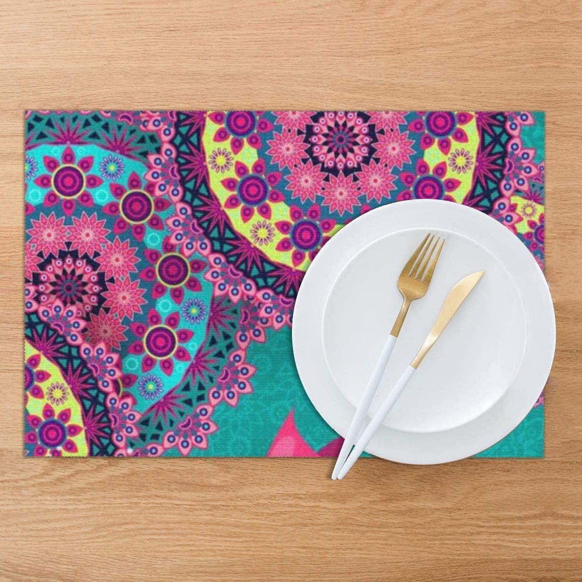 coloridas flores 12 x 18 pulgadas lavables antideslizantes resistentes al calor Juego de 6 manteles individuales vintage manteles individuales