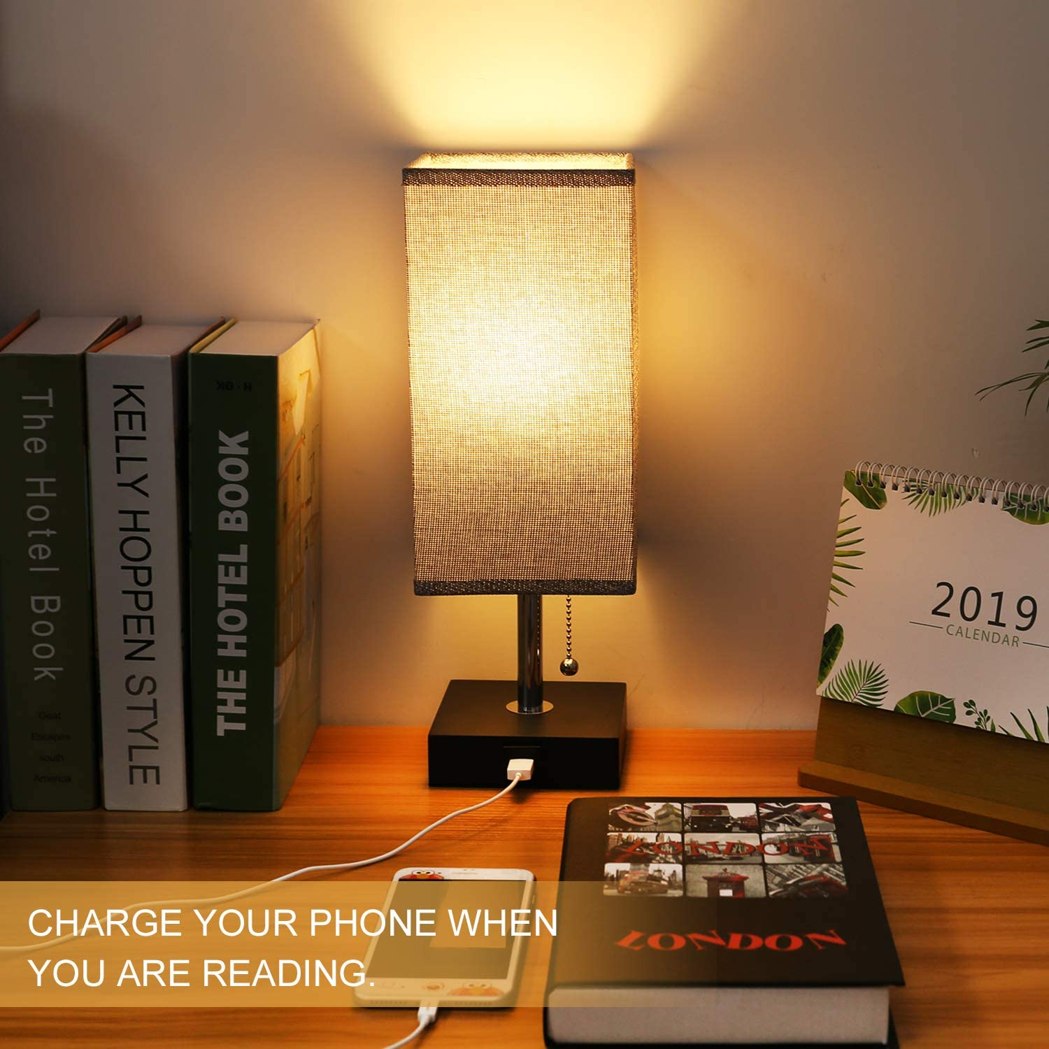 USB Table Desk Lamp, Grey Bedside Nightstand Lamp with USB Charging Port, Solid Wood Unique Lampshade,Convenient Pull Chain for Bedroom Living Room: Home Improvement