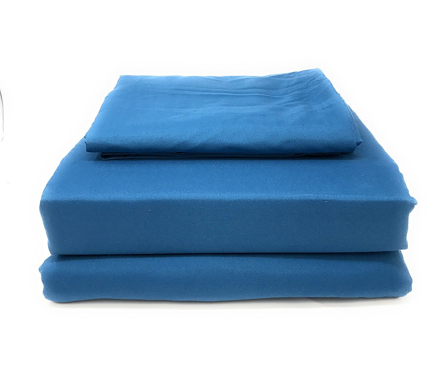 Tache Soft Microfiber Deep Pocket - Solid Ocean Blue Luxury Fitted and Flat 3 Piece Sheet Set, Twin
