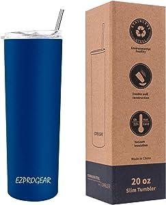 Ezprogear 20 oz Blue Sapphire Stainless Steel Slim Skinny Tumbler Vacuum Insulated with Straw (20 oz, Sapphire)