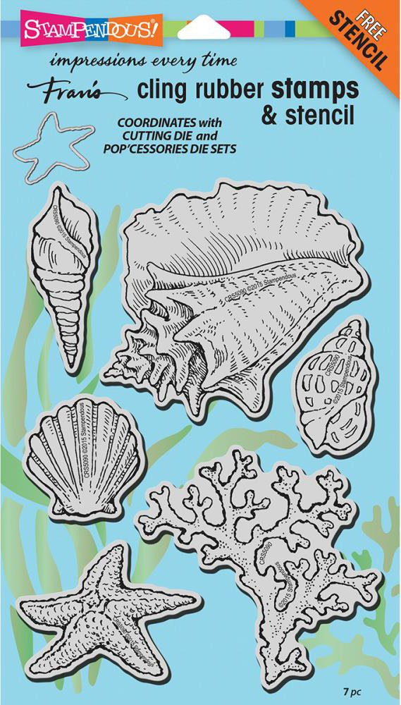 2 Item Bundle Stampendous Seashells Cling Stamp /& Die Set