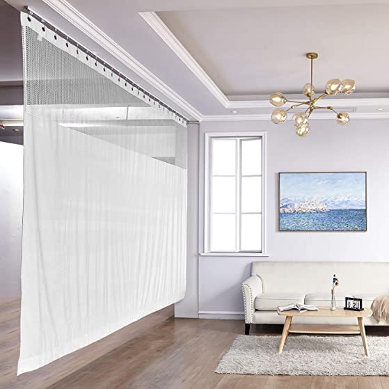 TWOPAGES White Extra Wide Curtain 15ft Wide x 8ft Tall Room Divider Nickel Grommet Curtain Privacy Cubicle Lab Curtain