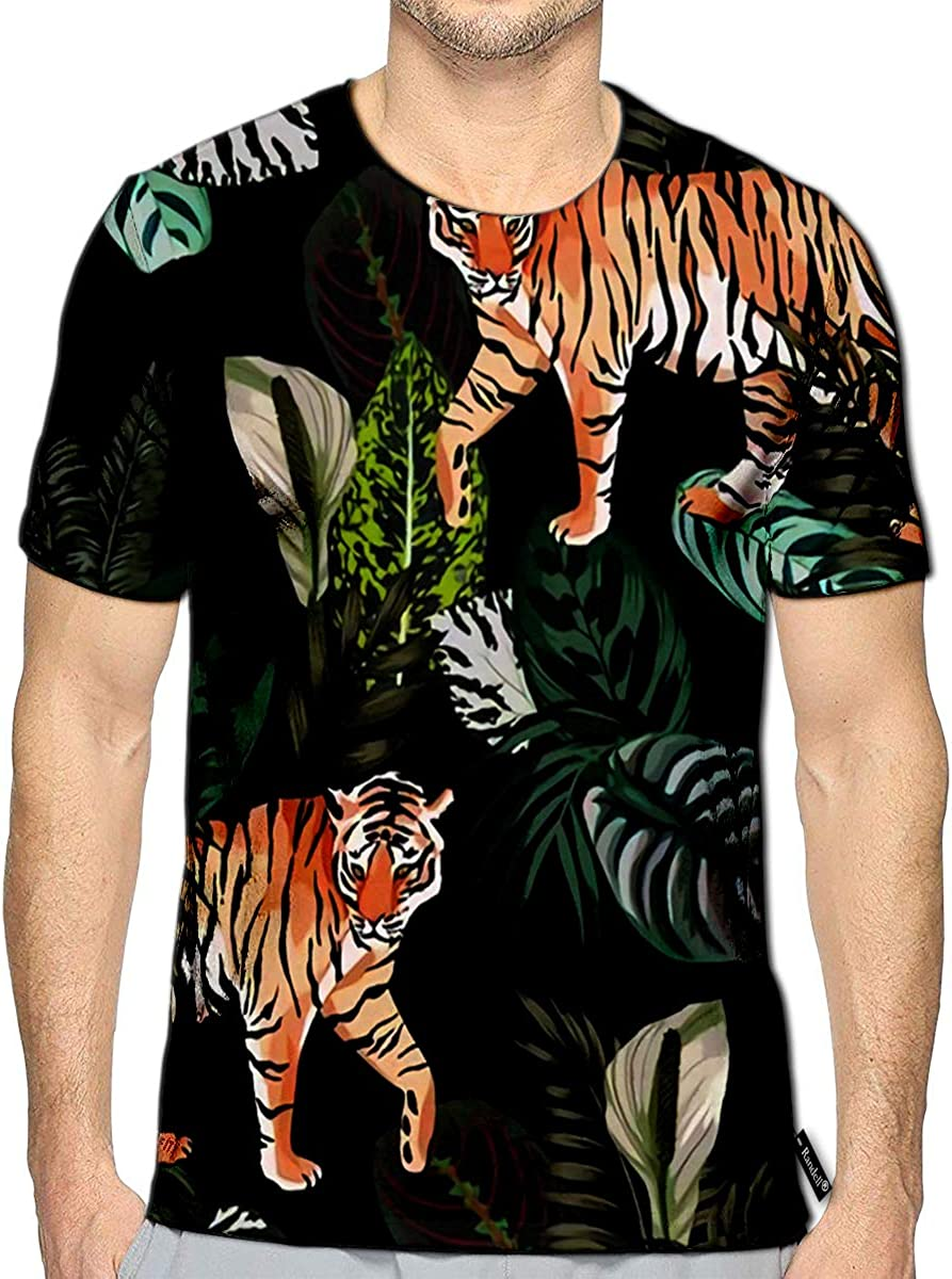 3D Printed T-Shirts Tropical Palm Leaves and Angry Tiger Head On Blue Short Slee