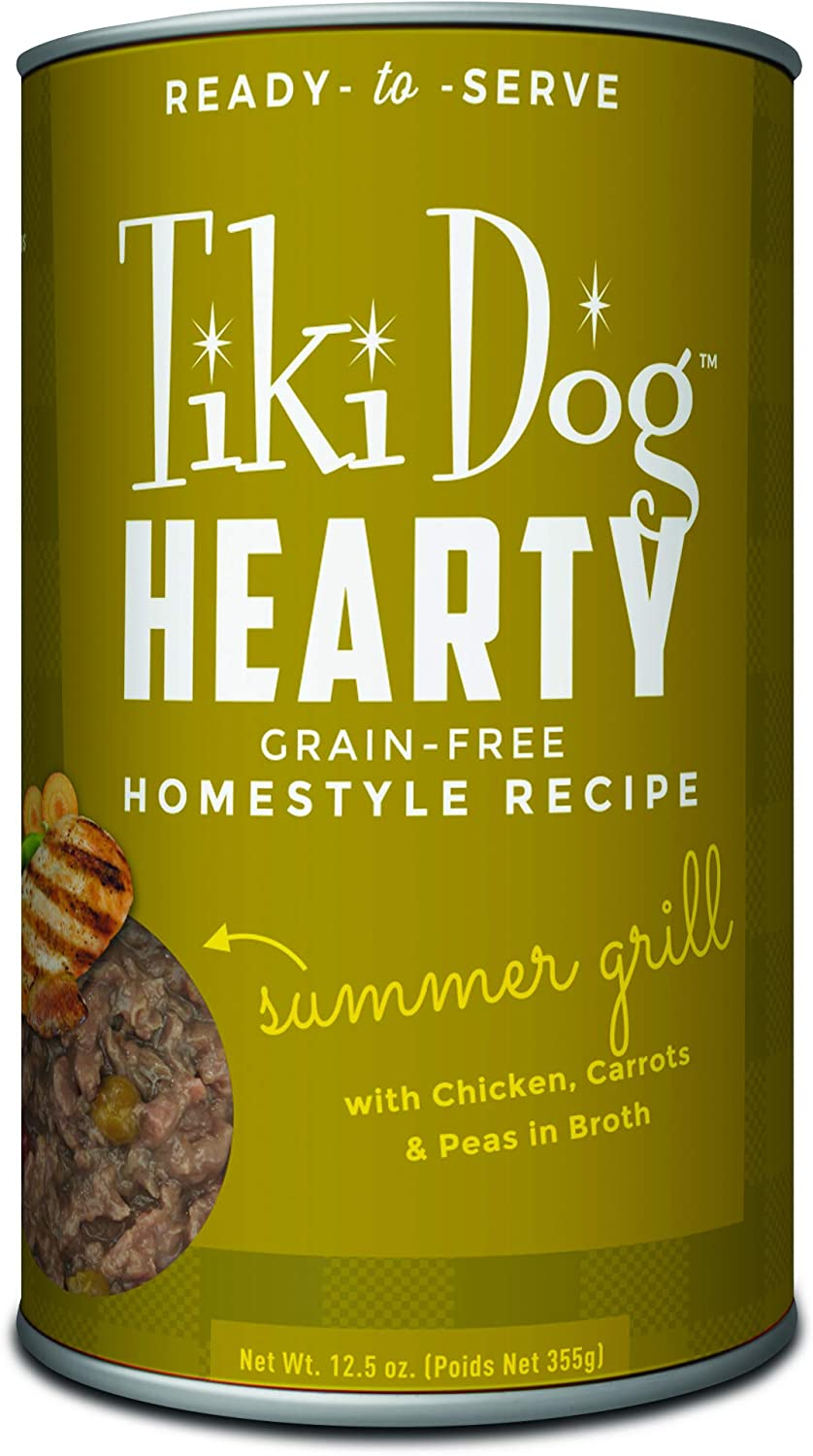Tiki Dog Hearty Wet Whole Food, Grain Free Homemade Recipe, Ready to Serve, 12.5 oz, 12 cans