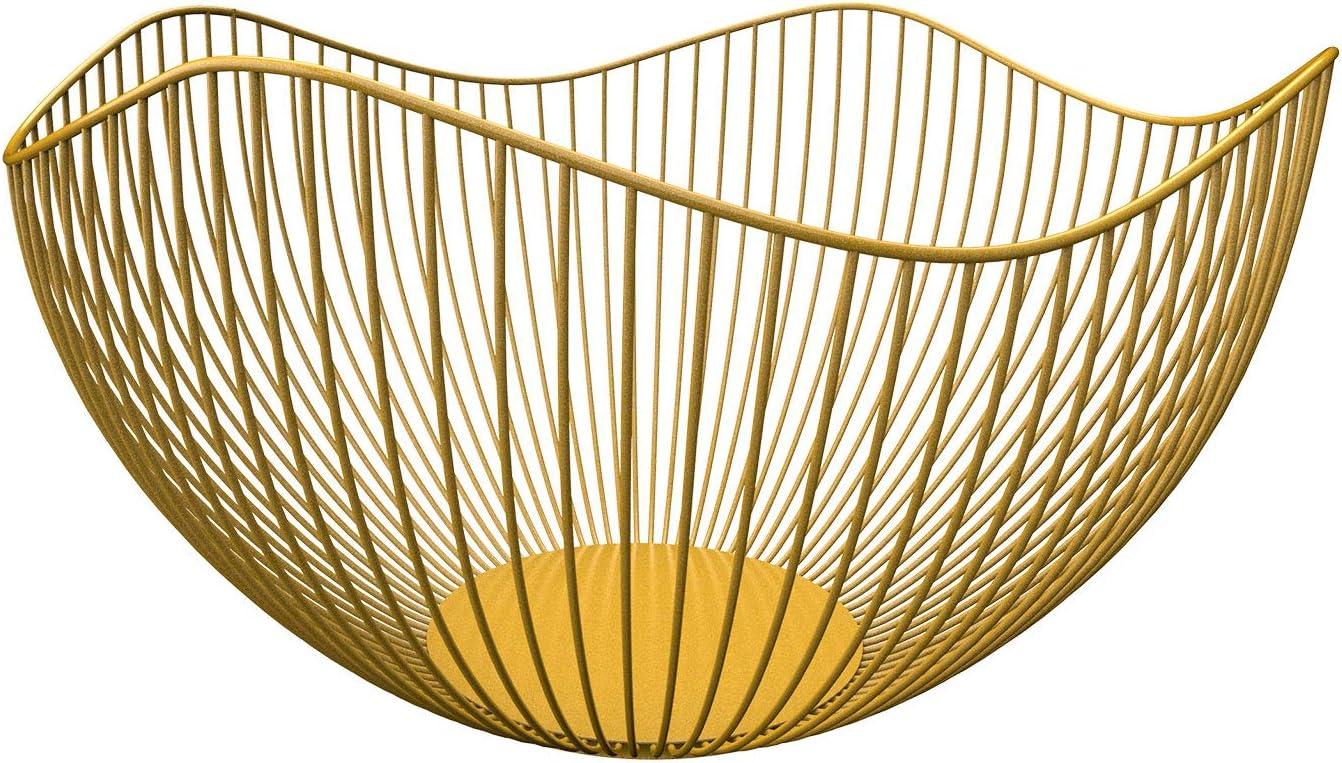 DMAR Wire Fruit Bargain Basket Yellow for Counter Kitchen Soldering Wav Bowl