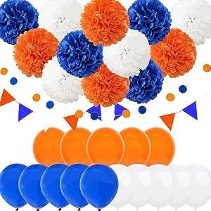 Carnival Navy Blue Orange White 29pcs American Wedding Birthday Bachelorette Bridal Baby Shower Party Decoration Kit - 10