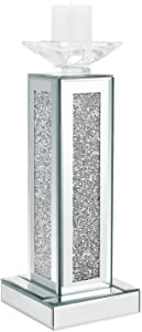 meetart Crush Diamond Crystal Clear Silver Mirror Glass Tall Pillar Taper Candle Holder Big Candle Cup Elegant Ideal for Wedding Centerpieces and Home Decoration, (Candles not Included)