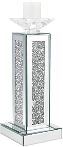 meetart Crush Diamond Crystal Clear Silver Mirror Glass Tall Pillar Taper Candle Holder Big Candle Cup Elegant Ideal