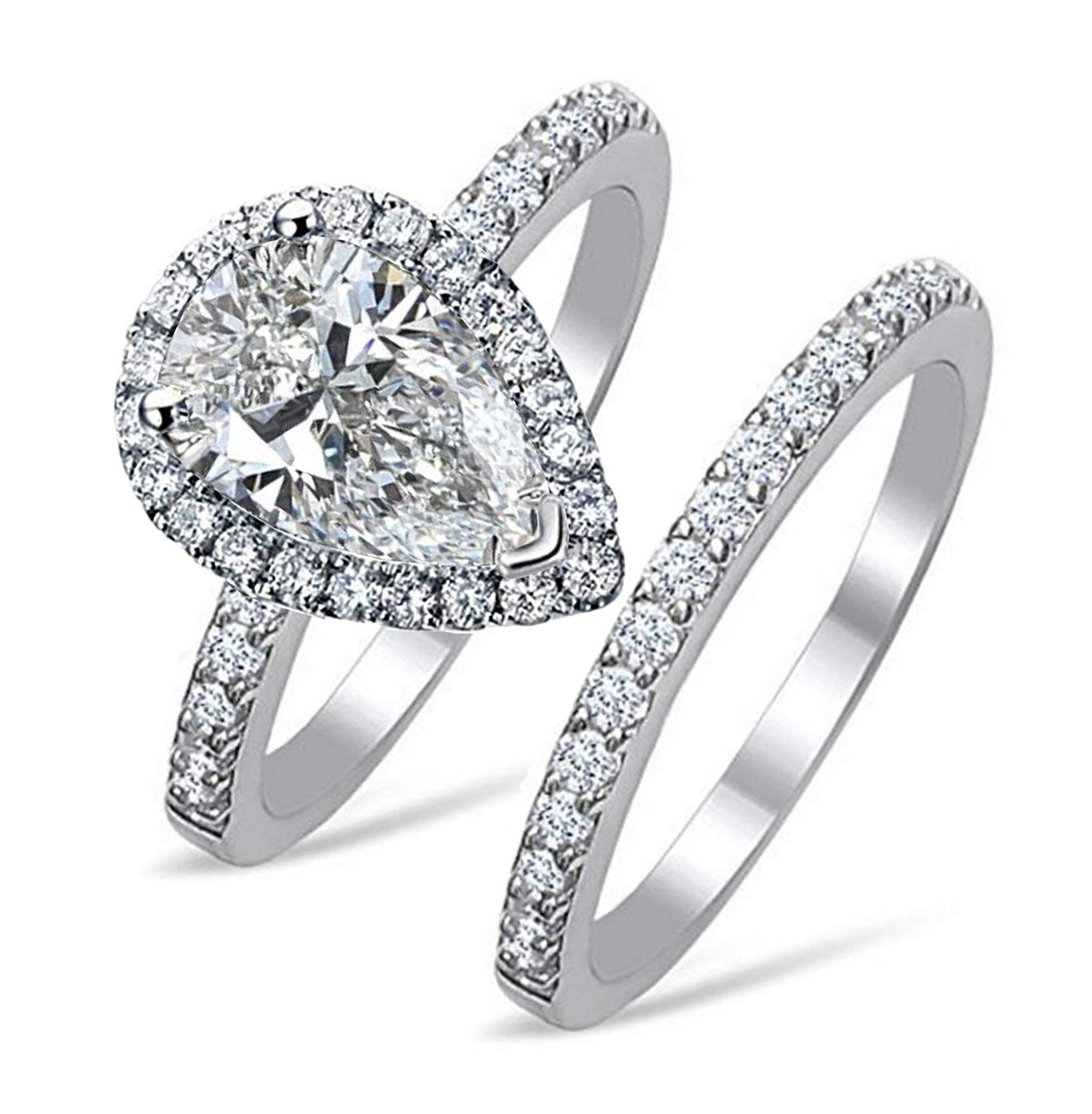 Top Grade NSCD Simulated Diamond Pear Shape Ring Band Set 925 Silver PearS8