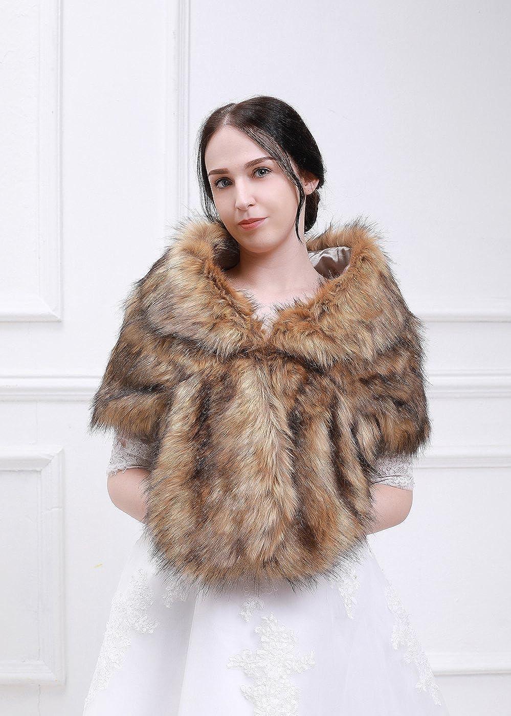 0b36663665fb0 Kercisbeauty Faux Fur Wrap Wedding Shawl Bridal Stole Boho Wrap ...