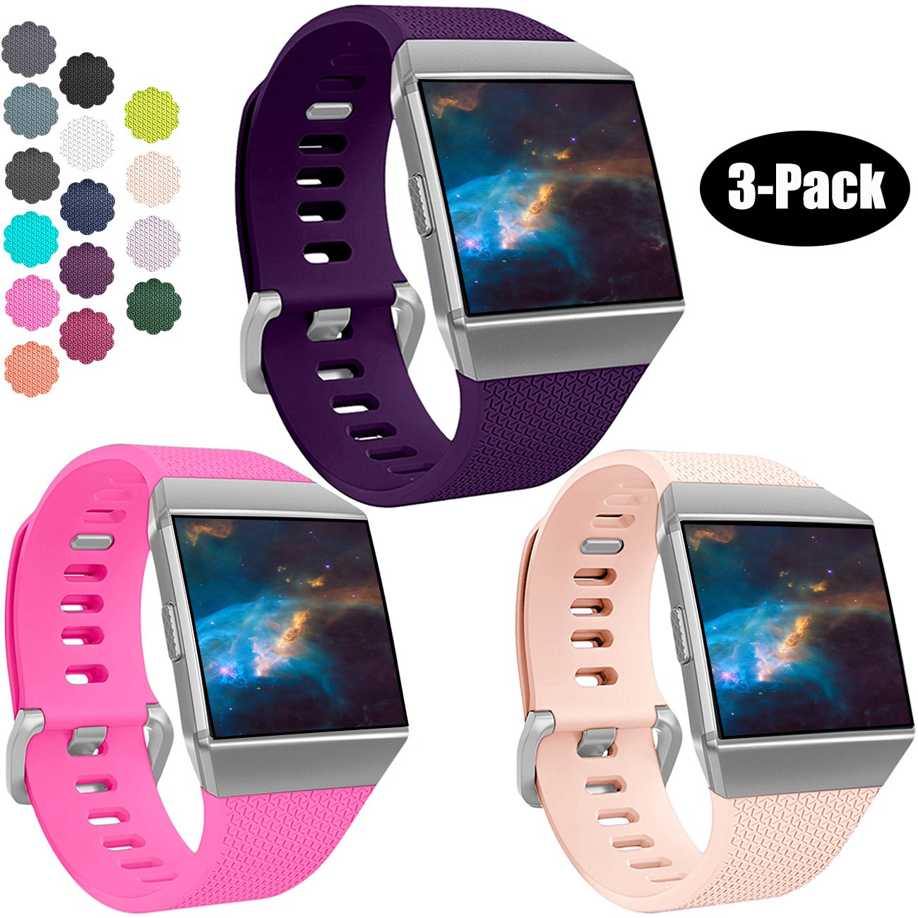 Wepro Fitbit Charge 2バンド、交換用for Fitbit Charge HR、バックル、15色、S、L 2 Small|02-Plum/Rose Pink/Blush Pink 02-Plum/Rose Pink/Blush Pink Small B078X7SH1S