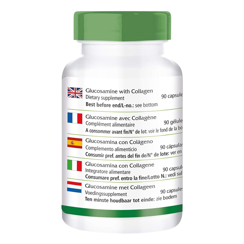 Glucosamina con Colágeno - para 1 mes - Alta dosificación - 90 Cápsulas: Amazon.es: Salud y cuidado personal