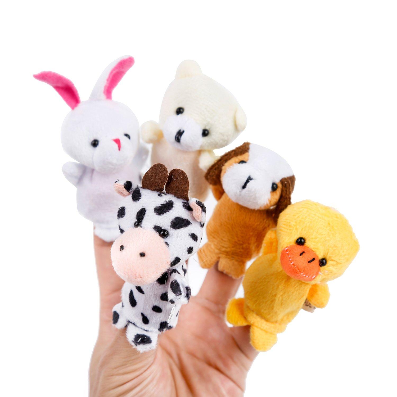 Oiuros 20pcs Different Cartoon Animal Finger Puppets Soft Velvet Dolls Props Toys by Oiuros (Image #5)