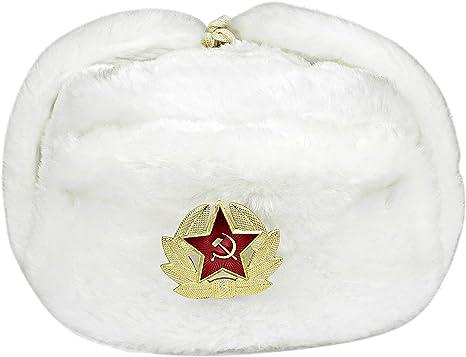 Heka Naturals Ushanka Gorro Militar Ruso con Orejeras e Insignia ...