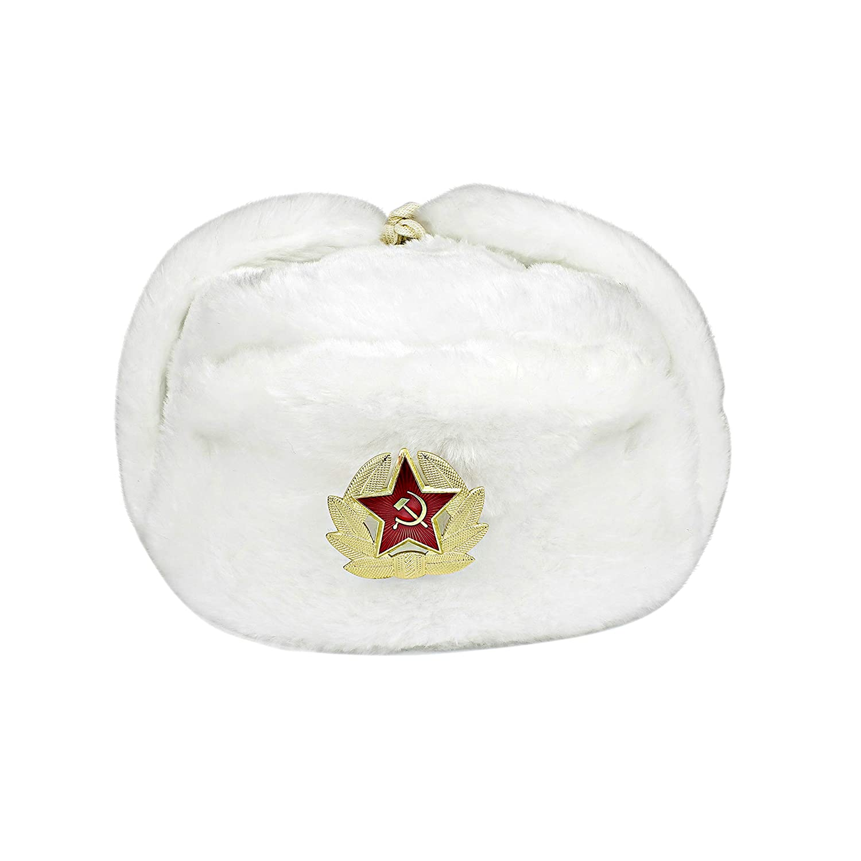 Heka Naturals Russischer Hut Uschanka mit Kokarda Pin Gro/ßer sowjetischer Unions-Milit/ärhut EU-UD