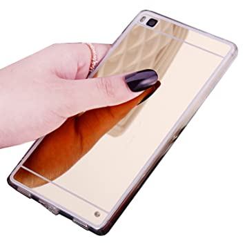 LXHGrowH Fundas Huawei P8 Lite, [Ultra Delgada] Carcasa con Espejo para Huawei P8 Lite (2016) Cover Silicona TPU Protectora Color Oro Cubierta