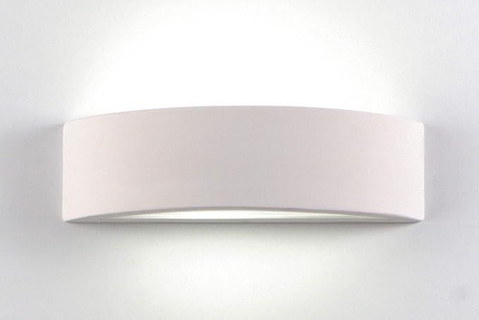Applique lampada da parete curvo 36cm moderno ceramica effetto gesso