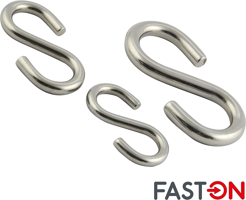 5 St/ück FASTON/® Universalhaken D=3 S-Haken symmetrisch aus rostfreiem Edelstahl A4 V4A INOX H/ängehaken K/üchenhaken Metallhaken