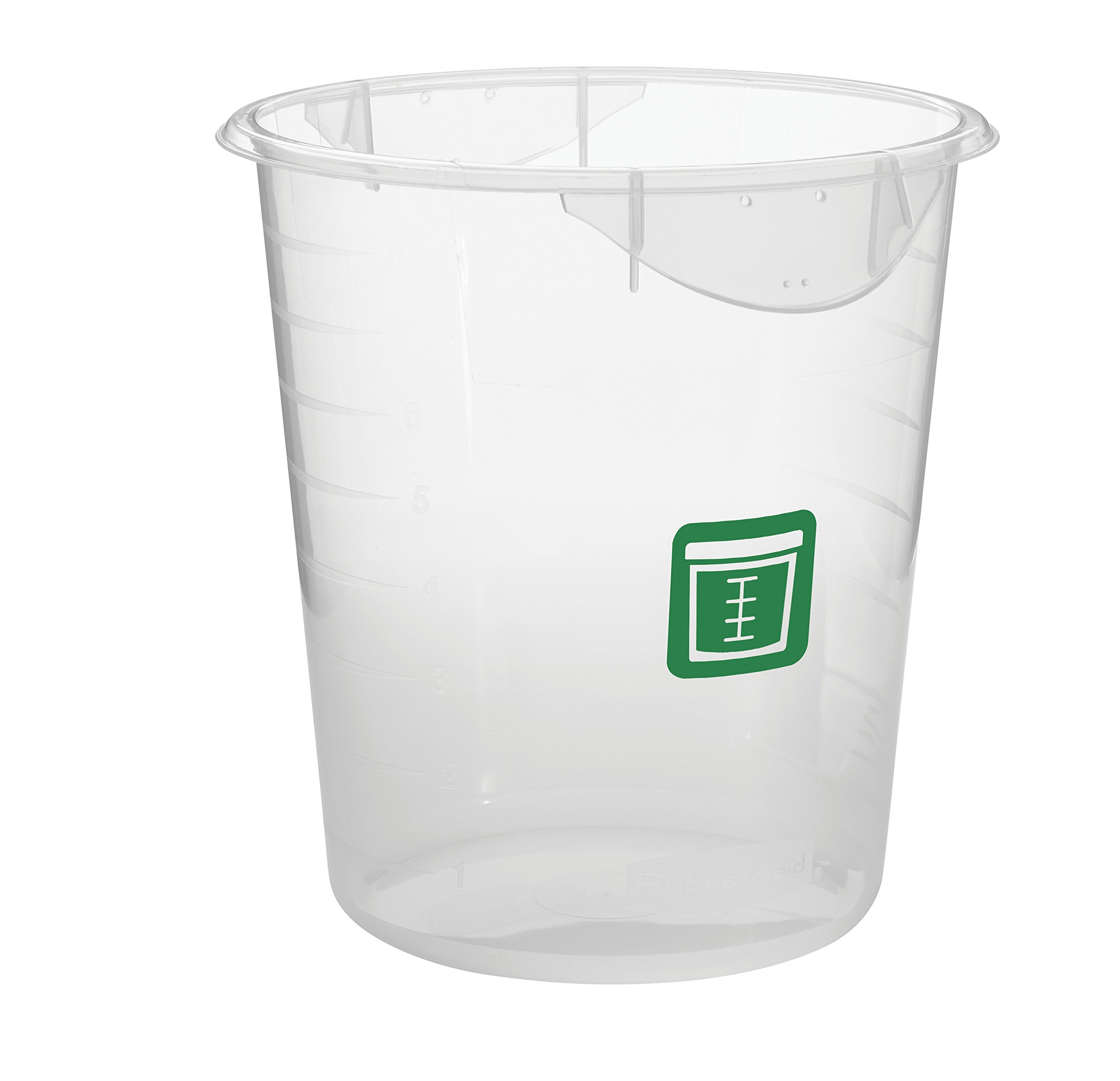 Rubbermaid Commercial Products 1980402 Round Plastic Food Storage Container, Green Label, 8 Quart, Clear