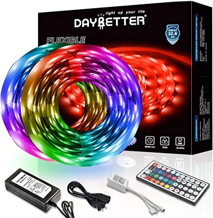 Daybetter Led Strip Lights 32 8ft 10m With 44 Keys Ir Remote And 12v Power Supply Flexible Color Changing 5050 Rgb 300 Leds Light Strips Kit For Home