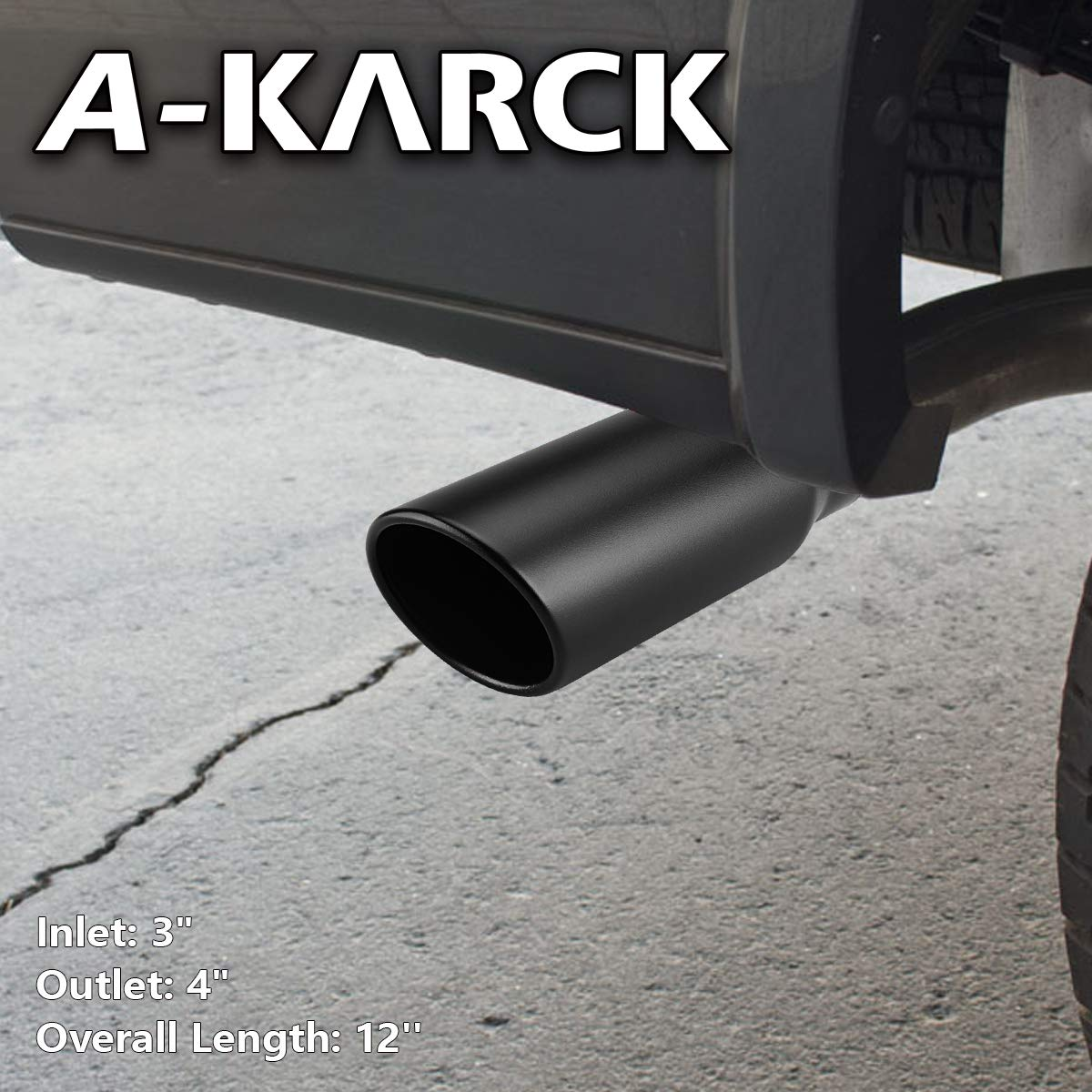 A-KARCK Exhaust Tip 3 Inch Inlet 3 Inlet 4 Outlet 12 Overall Length Clamp On Muffler Tip For Truck Tailpipe Rolled Angle Cut Design