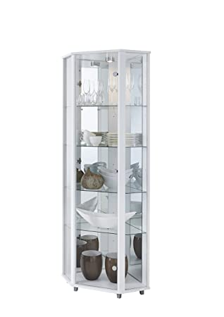 Lockable White Corner Glass Display Cabinet With Mirror Back 4
