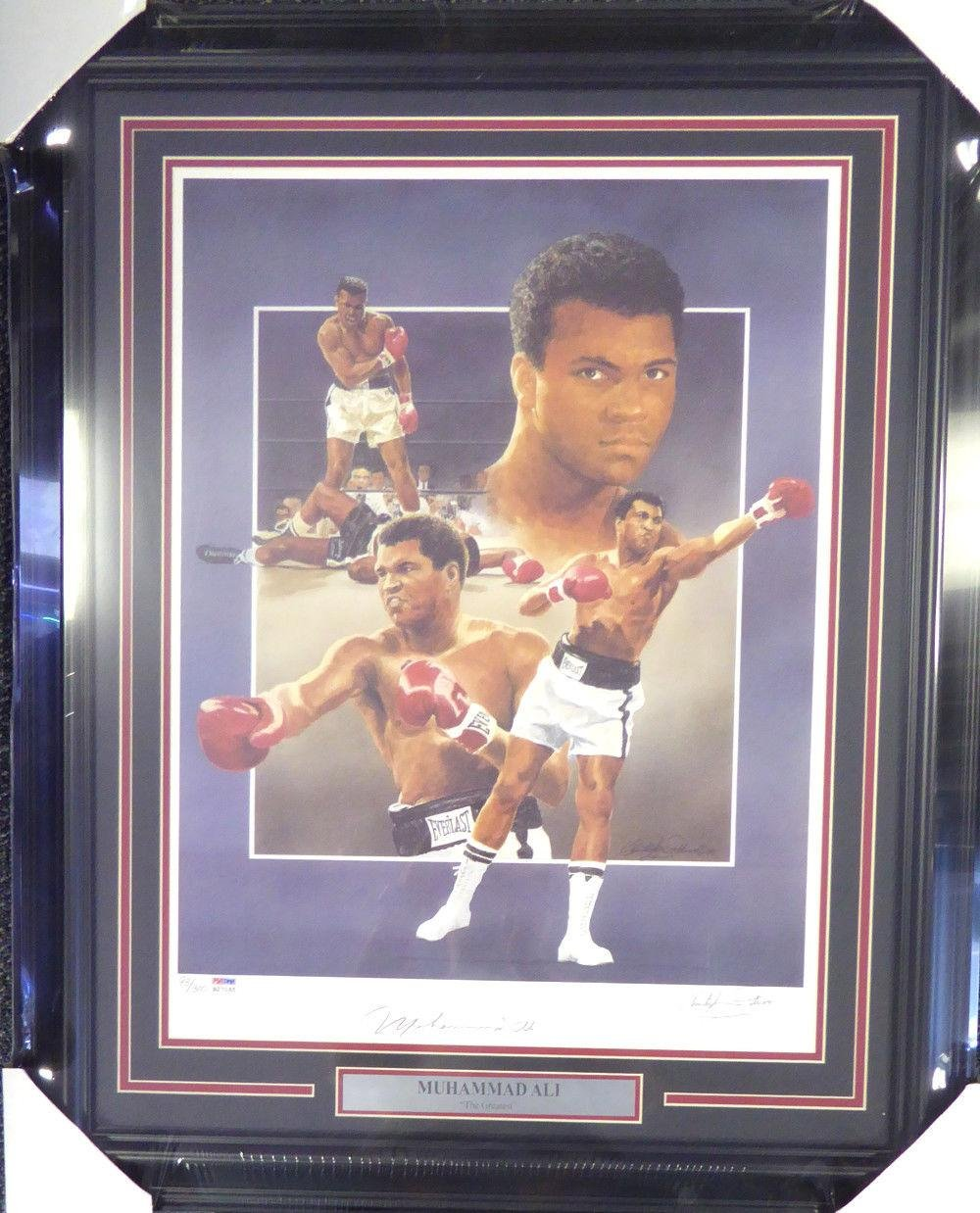 Muhammad Ali Autographed Framed 18x24 Lithograph Photo Auto Grade 10 B27065 PSA/DNA Certified Autographed Boxing Art