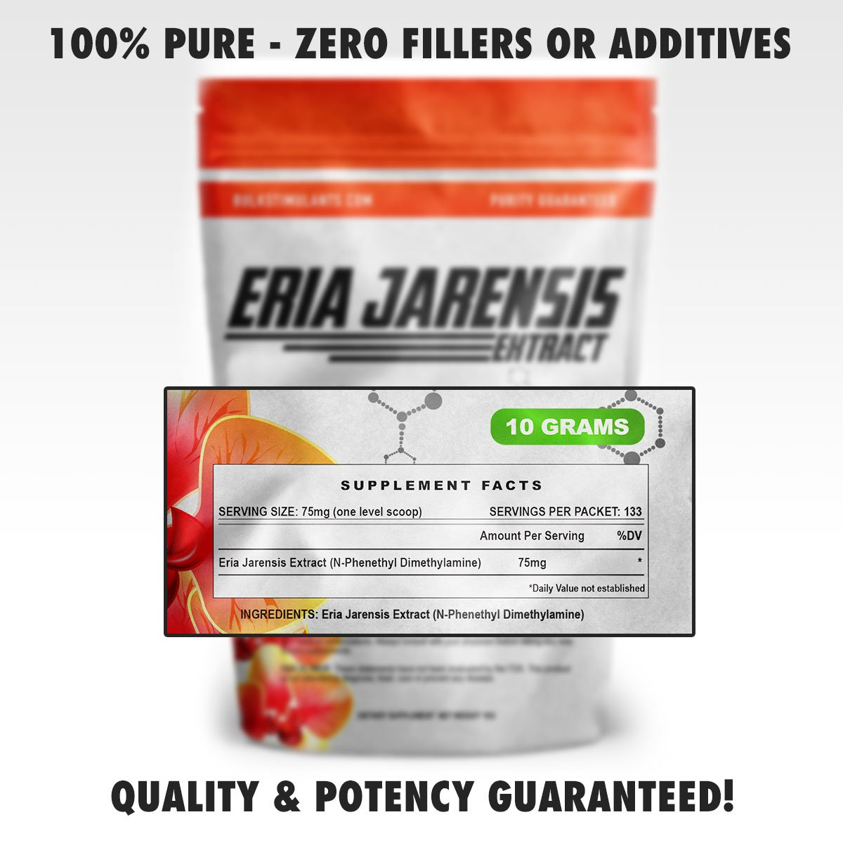ERIA JARENSIS Extract - Bulk Powder 10 Grams 133 Servings - New Pea  Supplement ✮ New Stimulant and NOOTROPIC ✮ Increase Focus Energy Cognitive
