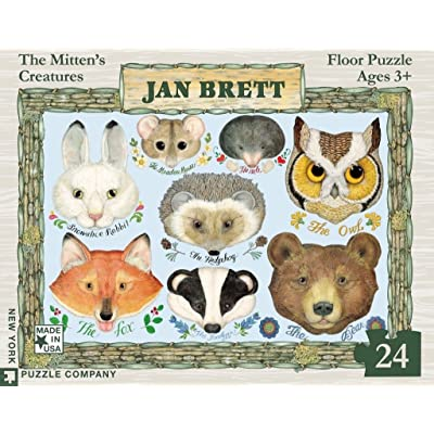 New York Puzzle Company - Jan Brett The Mitten - Faces - 24 Piece Jigsaw Puzzle: Toys & Games