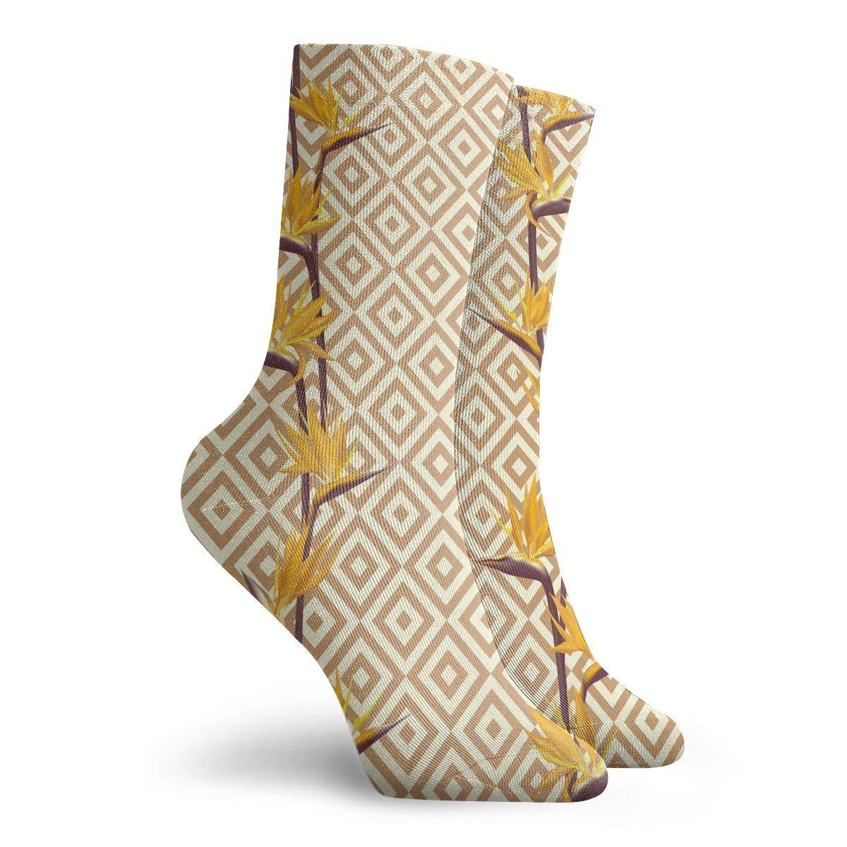 Women Men Tropical Flower Bird Pattern Athletic Crew Socks