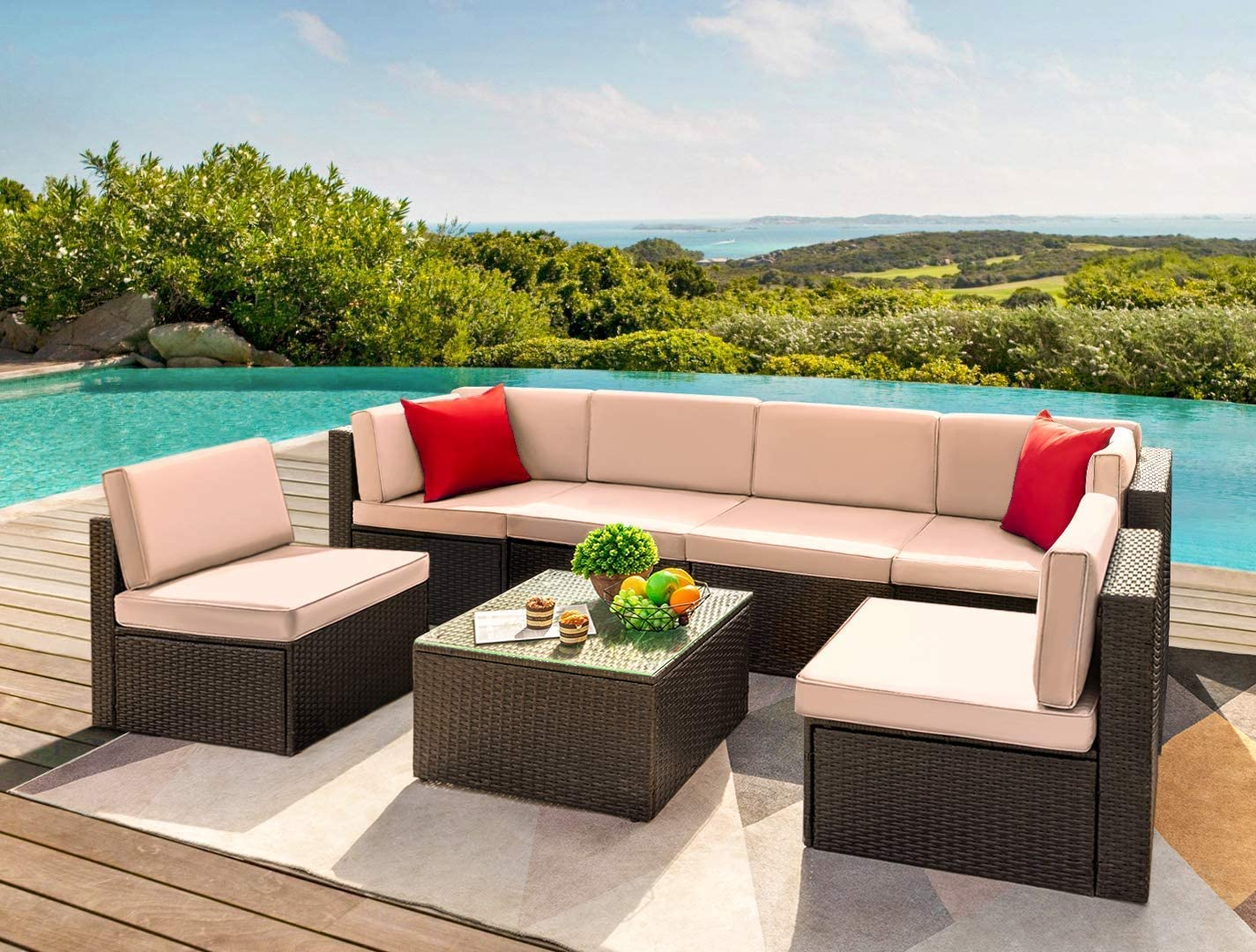 devoko 7 pieces outdoor sectional sofa patio furniture sets manual weaving wicker rattan patio conversation sets with cushion and glass table beige