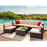 Devoko 7 Pieces Outdoor Sectional Sofa Patio Furniture Sets Manual Weaving Wicker Rattan Patio Conversation Sets with Cushion