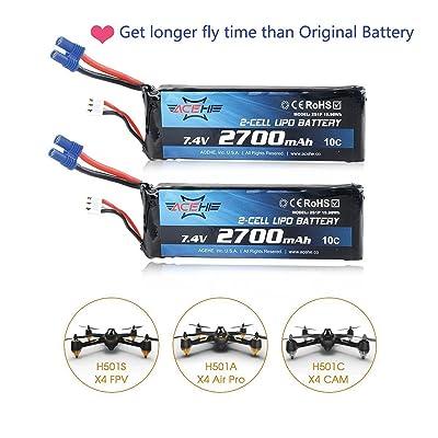 2pcs Hubsan H501S X4 Lipo batería 2700mAh 7.4V 10C EC2 conector: Juguetes y juegos