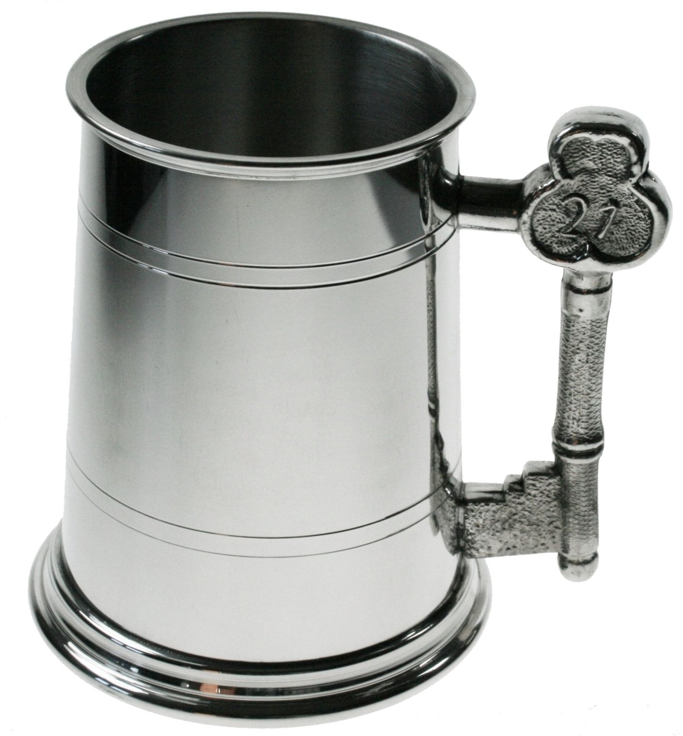 Personalised 1 Pint Pewter Tankard with 21 Key Handle, Engraved Birthday Gift - Enter Your Own Custom Text County Engraving
