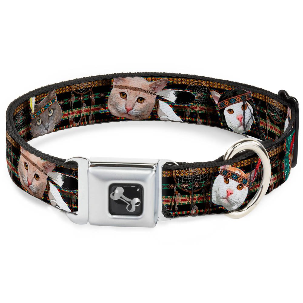 Buckle-Down Seatbelt Buckle Dog Collar Dream Catcher Cats 1  Wide Fits 11-17  Neck Medium