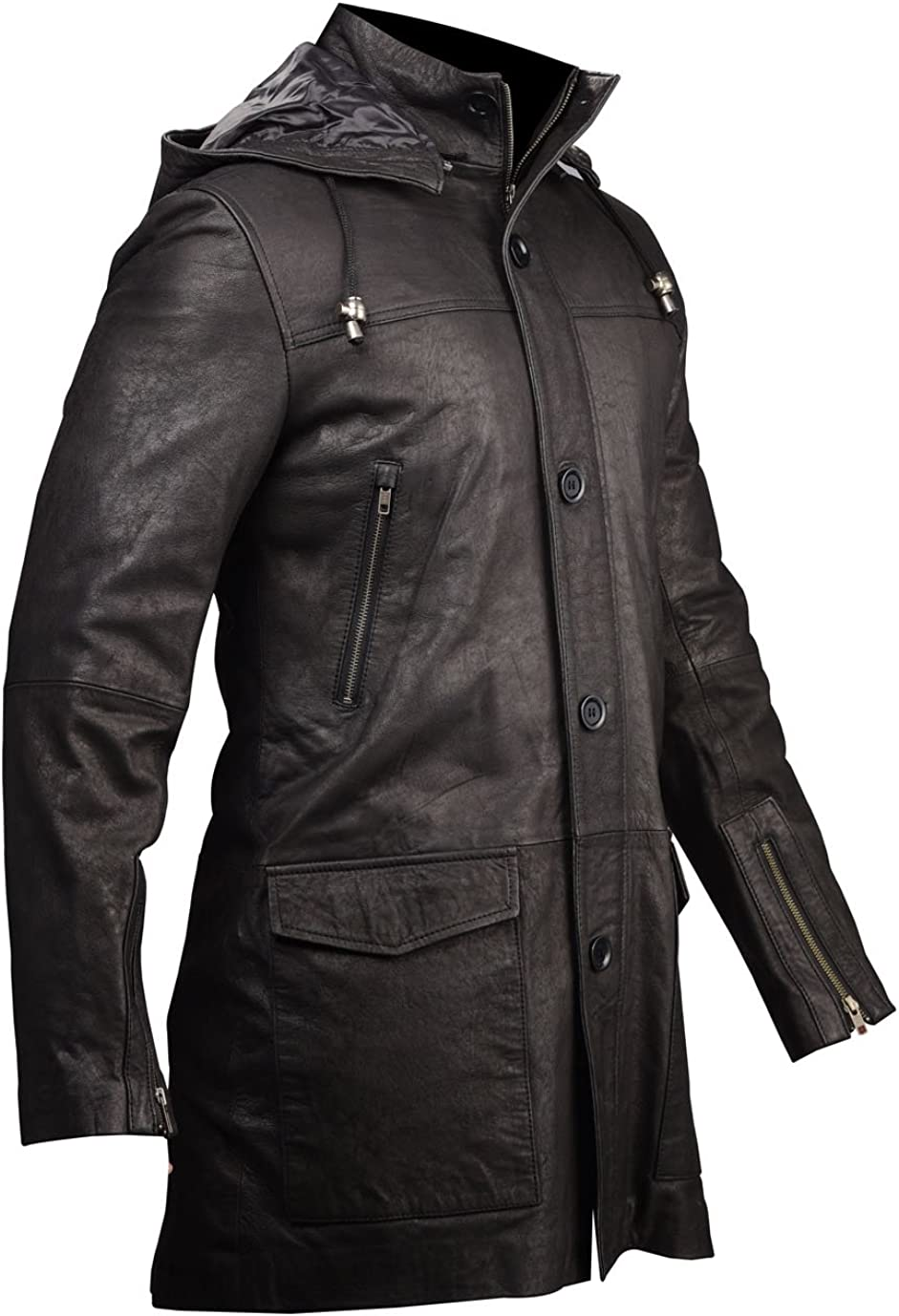 VearFit Black Five Buttons Blazar Trench Coat Snuff Hooded Real Leather Jacket for Men