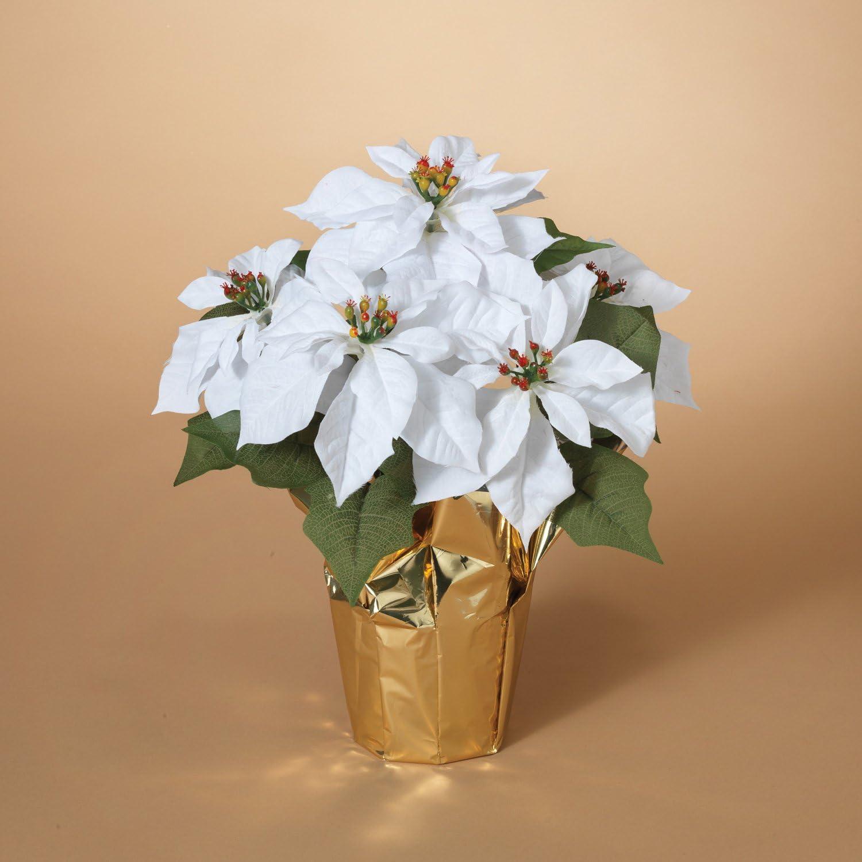 Amazon Com 15 Inch Potted White Poinsettia Plant Artificial