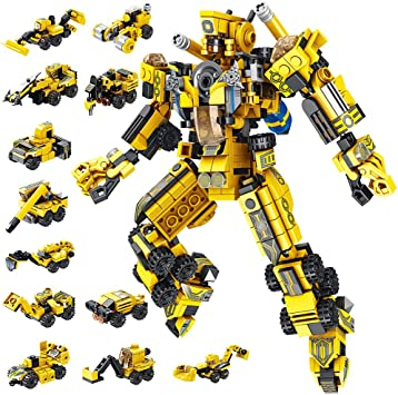 VATOS STEM Building Toys, 573 PCS Robot STEM Toys for 6 Year Old Boys 25-in-1 Engineering Building Bricks Construction Vehicles Kit Building Blocks Best Gifts for Kids Aged 6 7 8 9 10 11 12 Yr Old