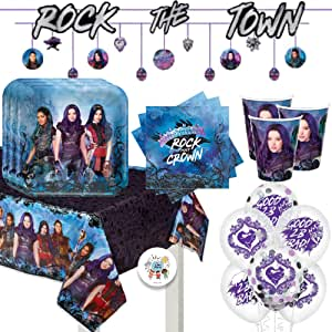 Descendants 3 Birthday Party Supplies Pack for 16 With Plates, Napkins, Cups, Tablecover, Balloons, Banner, and Pin